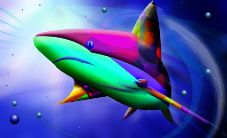 exotic fish: abstract shark art