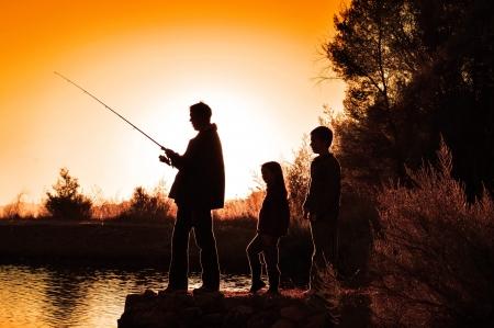 camping: family fishing
