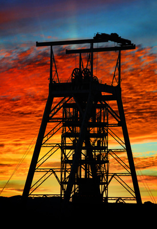 mine shaft at sunset