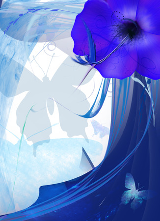 vector illustration with blue flower, waves and butterfly