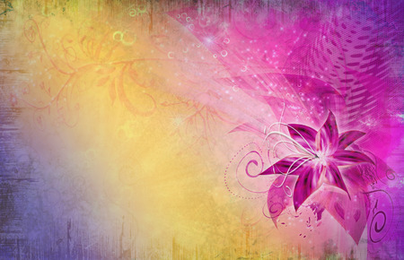 purple flower on colorful background with foliage and swirls Stock Photo