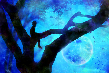 Boy in tree inside forest at night with moon  Stock Photo
