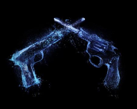 guns firing across  revolver and pistol  splash
