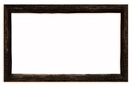 old dark wooden frame  Isolated over white