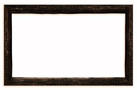 old dark wooden frame  Isolated over white