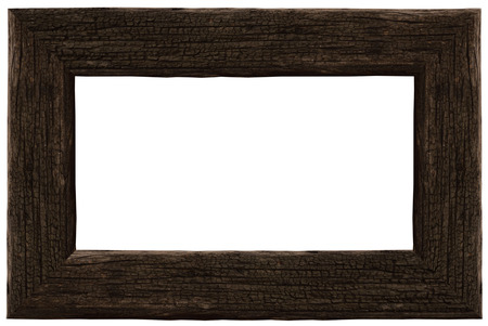 dark old wooden frame  Isolated over white Stock Photo