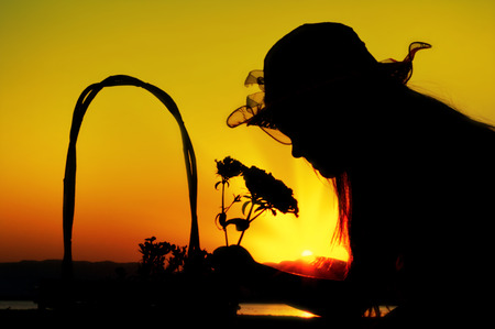 little girl smelling flowers silhouette Stock Photo