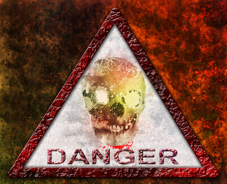 Danger Skull sign over rusty metal background