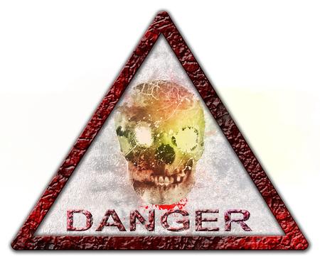 danger skull sign or symbol  Isolated over white