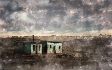 abandoned old house on landscape Banque d'images