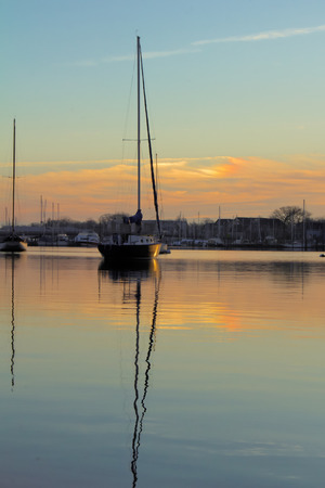 waterscapes: Sailboat at sunrise in Annapolis