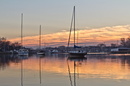 waterscapes: Moored sailboats at sunrise