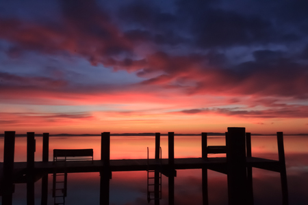 waterscapes: Colorful sunrise over the bay
