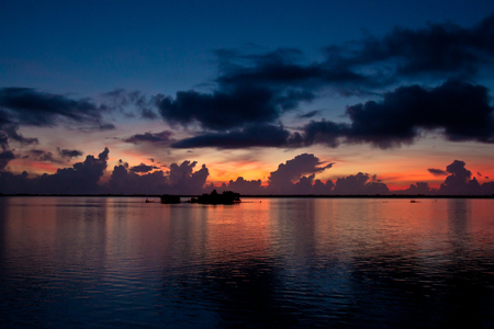 waterscapes: Colorful sunrise over the Sebastian River Stock Photo