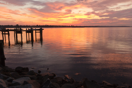 waterscapes: Havre de Grace Colorful sunrise Stock Photo