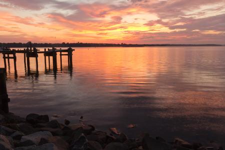 waterscapes: Havre de Grace Colorful sunrise Stock Photo