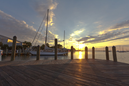 waterscapes: Sunrise from the pier Stock Photo