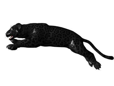 jaguar: 3D prestados imagen de pantera Negro sobre un fondo blanco aisladas Foto de archivo