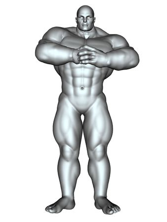 3D rendered image of big bodybuilder on white bacground isolated