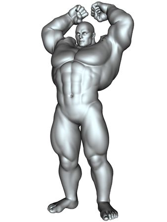white bacground: 3D rendered image of big bodybuilder on white bacground isolated
