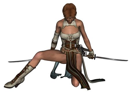 3D rendered fighting woman samurai with katana on white background isolated