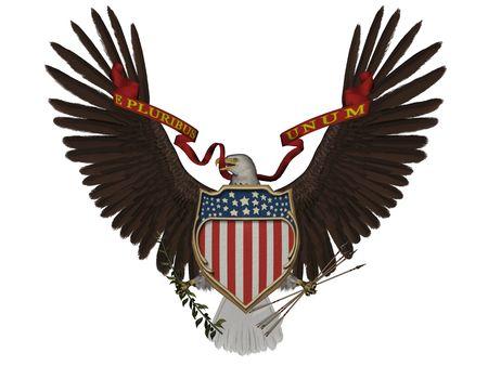 3D representa el símbolo de la U.S. sobre fondo blanco aislado Foto de archivo