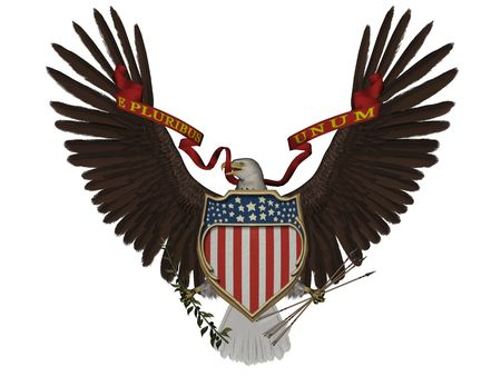 aguila americana: 3D representa el s�mbolo de la U.S. sobre fondo blanco aislado Foto de archivo