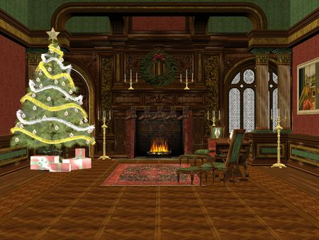 3D rendered christmas room with tree, presents and decorations photo
