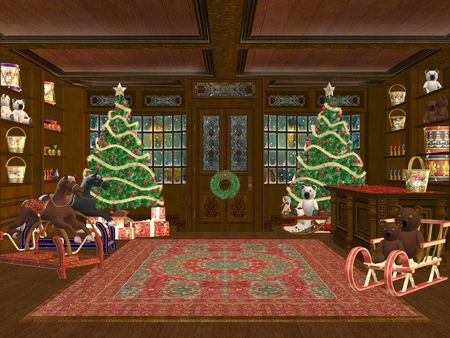 3D rendered christmas shop with tree, presents and decorations photo