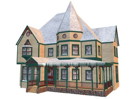 3D rendered victorian winter house isolated on white background