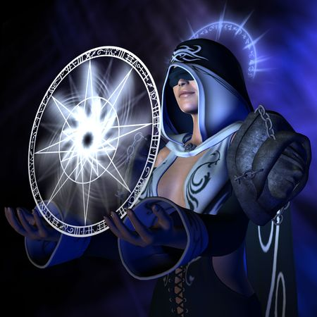 conjuring: 3D rendered image of conjuring wizard conjure spell