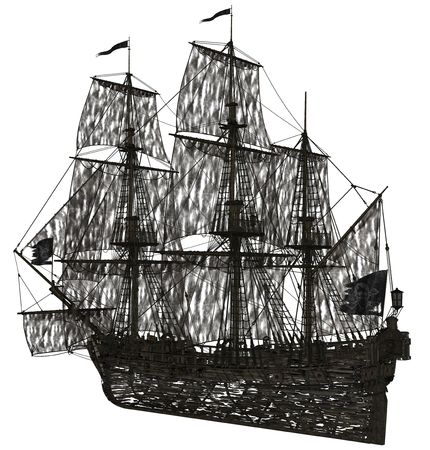 3D redered ghost sailboat rendered on white background isolated Stock Photo