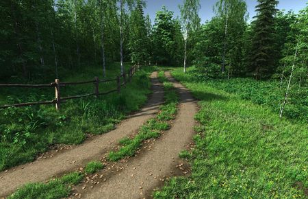 3D rendered image of summer country and road
