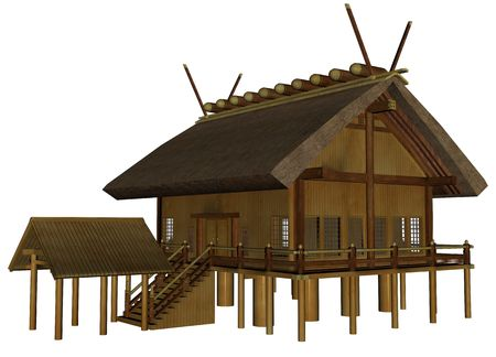 3D rendered imperial shrine on white background isolated
