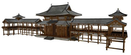 3D rendered buddhist temple on white background isolated Stock Photo
