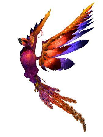 phoenix bird: 3D rendered fantasy phoenix bird on white background isolated
