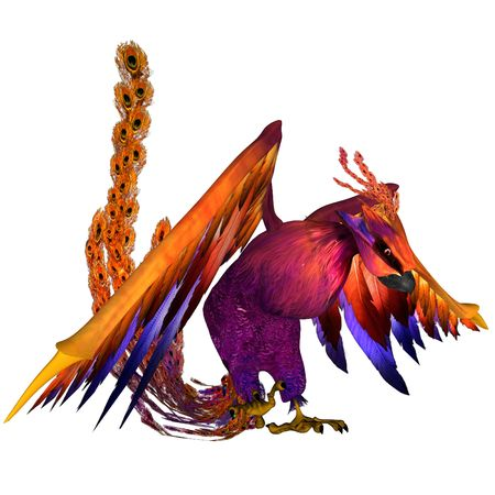 3D rendered fantasy phoenix bird on white background isolated