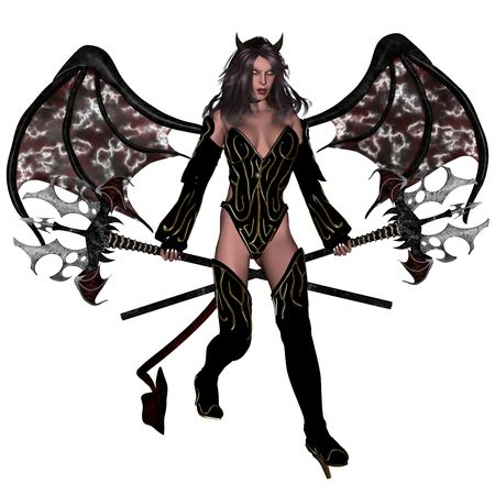 satanic: 3D rendered sexy woman devil rendered on white background isolated