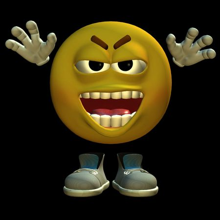 3D rendered emoticon on black background isolated Stock Photo