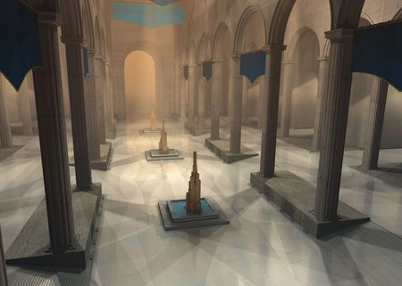 great hall: 3D rendered ancient fantasy great hall with fountain Stock Photo