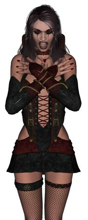 diavoli: Signora wampire sexy 3D rendering su sfondo bianco isolato