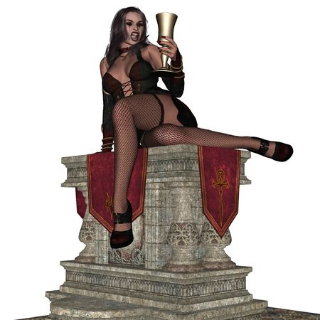 3d vampire: 3D sexy wampire lady rendered on white background isolated