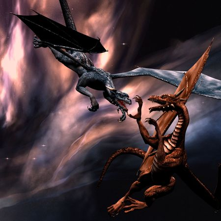 3D rendered fighting dragons on the sky Stock Photo