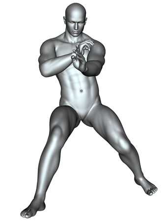 3D rendered fighter on martial arts poses on white background isolated