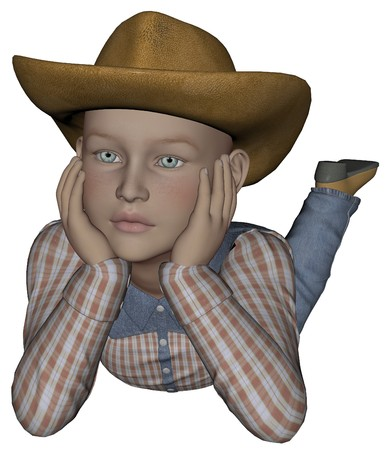 buckaroo: 3D rendered young cowpoke on white background isolated