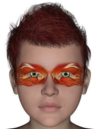 3D rendered halloween painting face mask on young boy face on white background isolated