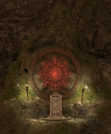 crypt: 3D rendered dark skull  cave crypt illustration
