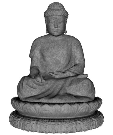budha: 3D rendered budha statue on white background isolated Stock Photo