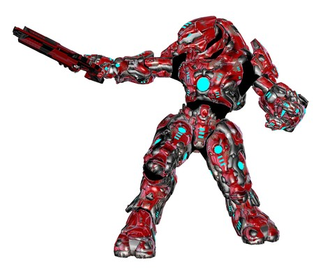 terminator: 3D rendered scifi alien robot on white background isolated