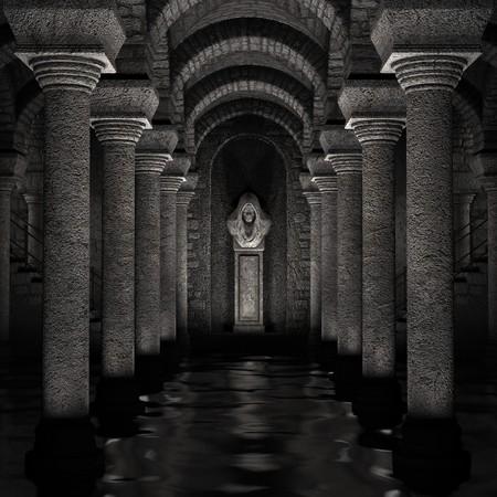 sanctuary: 3D rendered fantasy religious underground sanctuary illustration